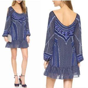 Parker boho chic beaded long slit sleeve dress